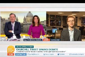 Greer (right) appeared on the ITV show Good Morning Britain to defend his views on Sir Winston Churchill