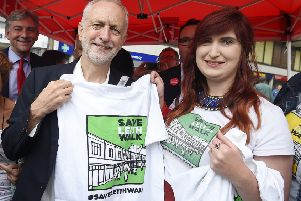 Labour leader Jeremy Corbyn gave his backing to Save Leith Walk campaigners in June last year. Picture: Greg Macvean