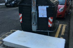 The amusing sign spotted by Alisa Deans,31, advertising an abandoned mattress for Airbnb for �5 in Edinburgh. Pic: Ailsa Deans/ SWNS