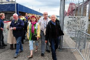 Cruise passengers come ashore at Hawes Pier, South Queensferry