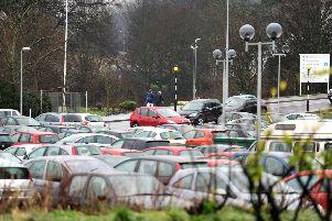 NHS staff would be exempt from any parking levy, with hospital car parks such as this one in Kirkcaldy already struggling to meet demand. Picture: Walter Neilson