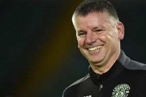 Hibs interim head coach Eddie May reacts ahead of the Ladbrokes Premiership match with Celtic. Picture: SNS Group
