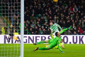 Ofir Marciano was the top performer for Hibs but he could do nothing about Celtic's second goal. Pic: SNS