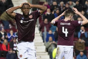 Uche Ikpeazu ' back in a Hearts shirt after four months out injured ' was disappointed as a chance went begging in the 0-0 draw with Livingston
