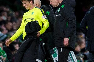 Ryan Gauld had to be substituted after picking up what looked like a hamstring problem. Pic: SNS