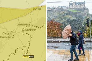Storm Erik will bring strong winds and heavy rain to Edinburgh and the Lothians.