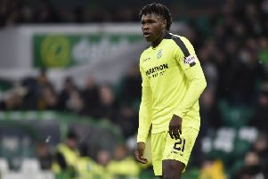 Darnell Johnson made his Hibs debut against Celtic. Picture: SNS Group