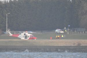 Coastguard helicopter scrambled from Prestwick for a rescue fromCramond Island - saturday, February 08  Pictures submiteed by reader Alastair Milne