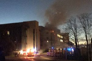 The fire in a science building at the University of St Andrews in Fife. Picture: @BirkettRachael/PA Wire