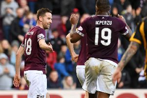 Steven MacLean celebrates after scoring for Hearts against Auchinleck Talbot. Pic: SNS