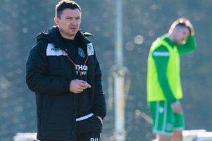 Paul Heckingbottom oversees Hibs training ahead of Saturday's clash with Hamilton Accies. Pic: SNS