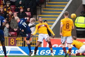 Steven Naismith equalises for Hearts during the first half.