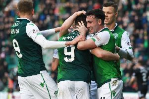 Hibs players celebrate during the 2-0 win over Hamilton. Pic: SNS