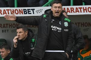 Paul Heckingbottom started off his Hibs tenure with a victory. Pic: SNS