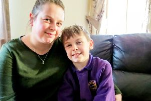 Max MacPhee with mum Louise.  Picture: SWNS