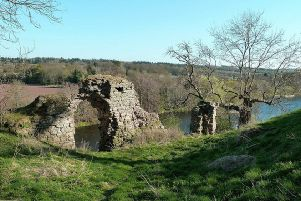 The remains of Roxburgh Castle on the banks of the River Tweed. The important Borders stronghold was fought over several times during the Wars of Independence. PIC: www.geograph.org/Mary and Angus Hogg.
