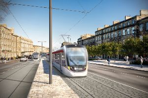An artist's impresion of how the trams will look going to Leith.