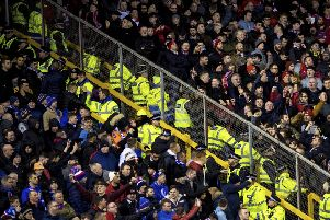 Police seperate Aberdeen and Rangers fans. Picture: SNS/Alan Harvey