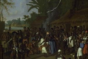 A depiction of a slave gathering in Suriname by Dutch artist  Dirk Valkenburg from around 1706. PIC: Creative Commons.