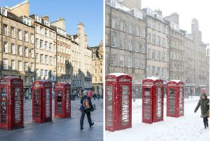 Contrasting weather scenes on the Royal Mile today and 12 months ago. Pic: Jane Barlow