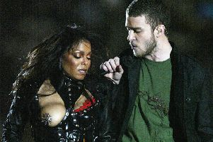 Janet Jackson has her infamous 'wardrobe malfunction' while performing with Justin Timberlake during half time at the 2004 Superbowl. Picture: Getty