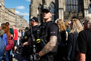 Armed Police on the High St during The Festival. Picture: JPIMedia