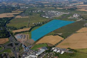 The area highlighted in blue shows the proposed site for the 'tech city'