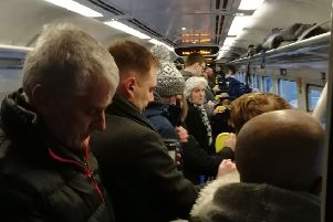 Overcrowding on a ScotRail train