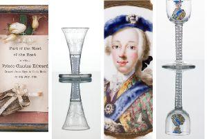 The treasures include (left to right) a piece of mast from the boat used by Bonnie Prince Charlie to leave Skye, an 18th Century firing glass, a 'secret' Jacobite snuff box and an extremely rare 18th Century glass that features a 5-colour enamel portrait of Bonnie Prince Charlie. PIC: John Paul Photography.
