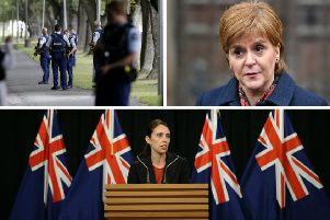 Nicola Sturgeon (top right) has shown solidarity with New Zealand's PM Jacina Adern (bottom). Pictures: AP/Getty