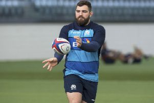 Jamie Bhatti takes part in a Scotland training session at the Oriam. Picture: SNS Group