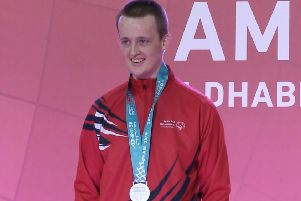 Special Olympics GB athlete Harrison Lovett collects his silver medal in the Judo at the ADNEK in Abu Dhabi, at the Special Olympics World Games. Pic: PA