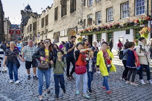 Tourists on the Royal Mile in Edinburgh. Picture: TSPL