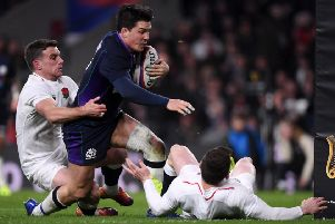 Sam Johnson crosses to score Scotland's sixth try during the 2018 Calcutta Cup clash at Twickenham. Picture: Getty Images
