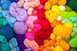 The festival showcases a variety of products including yarn, knitting, crochet
