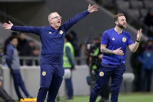 Scotland manager Alex McLeish gestures on the touchline during the defeat. Picture: PA