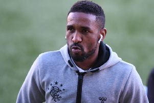 Rangers striker Jermain Defoe was at Raydale Park in Gretna