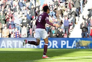 Sean Clare turns away to celebrate his goal to make it 1-1. Picture: SNS
