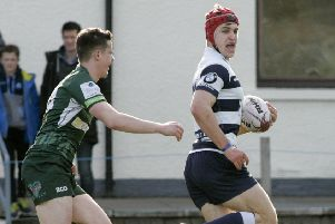 Heriot's Jack Blain on way to a try against Hawick. Pic: Alistair Linford