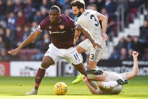 Hearts hope to have Uche Ikpeazu in their ranks on Saturday. Pic: SNS