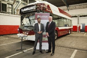 Richard Hall, Managing Director of Lothian buses with then Transport Minister, Humza Yousaf
