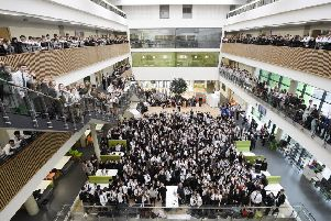 The new Boroughmuir High School opened in February last year with a special assembly in the atrium for all 1,200 pupils. Picture: Greg Macvean
