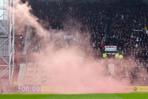 There was fan disorder at the last Edinburgh derby a week ago. Pic: SNS