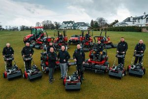 Bruntsfield Links Golfing Society CEO Dougie Cleeton seals a �250,000 Toro equipment deal with Stuart Tait of Reesink Turfcare, while course manager Neil Hogg and his team look on.