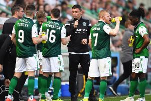 Paul Heckingbottom issues instructions to his players during a break in play.