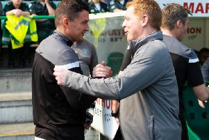 Paul Heckingbottom shakes hands with former Hibs manager Neil Lennon.