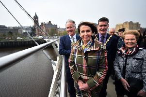 US House Speaker Nancy Pelosi, centre, on the Peace Bridge in Derry/Londonderry (Picture: Charles McQuillan/Getty Images)