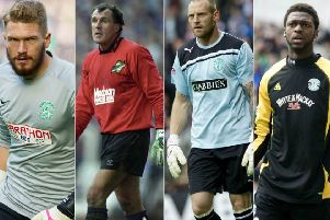 Former Hibs goalkeepers Mark Oxley, John Burridge, Graham Stack and Yves Ma-Kalambay. Pictures: SNS Group