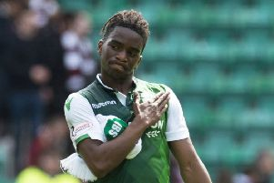 Stephane Omeonga put in a good shift for Hibs against Hearts. Picture: SNS Group