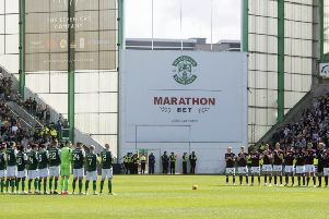 A minute's applause in memory of Billy McNeill is staged at Easter Road ahead of the Edinburgh derby. Picture: SNS Group